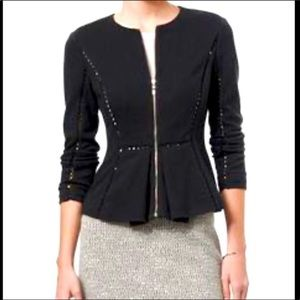 REBECCA TAYLOR Knit Peplum Zip Jacket
